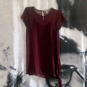 {5/$20} Burgundy Sheer Knot Chiffon T-Shirt Dress